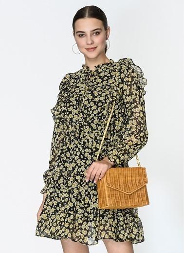Loves You Çiçek Desenli Fırfırlı Şifon Elbise Siyah
